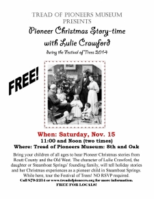 Pioneer Christmas Story-time with Lulie Crawford